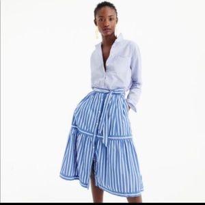 Jcrew button front striped skirt Sz 00